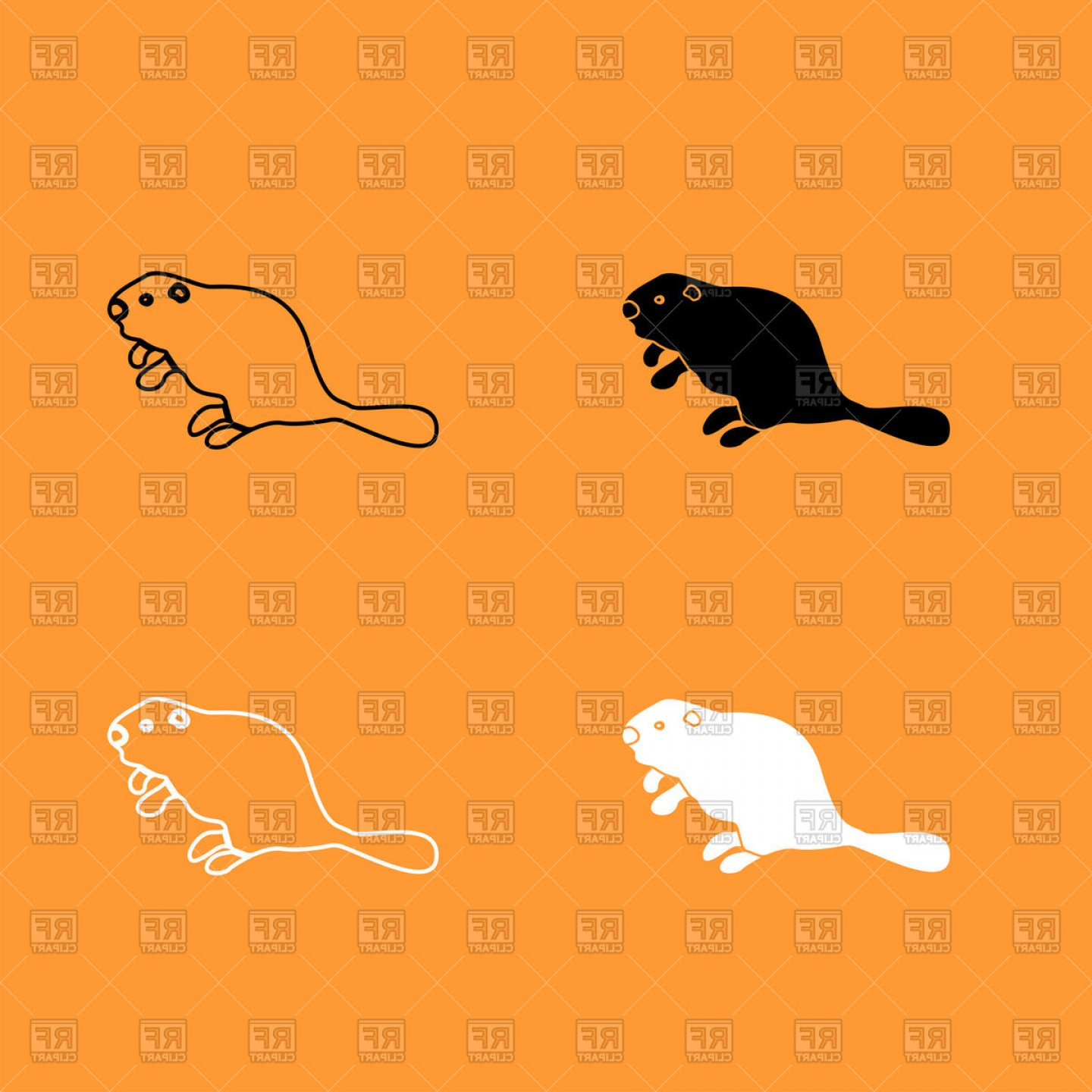 Vector Silhouette Beaver: Beaver Silhouette And Outline Vector Clipart