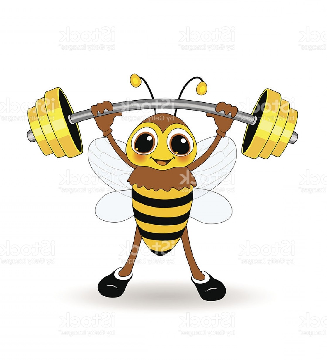 Weightlifter Vector Art: Bee As A Weightlifter Gm