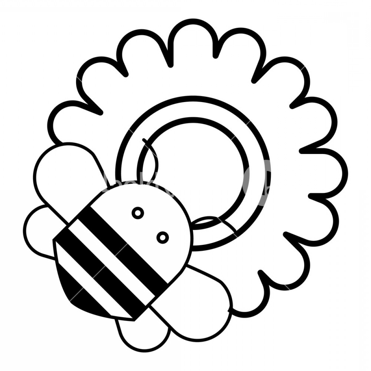 Bee Outline Vector: Bee On Flower Icon Outline Illustration Of Bee On Flower Vector Icon For Web Design Isolated On White Background Hiwohcedxjlbcch