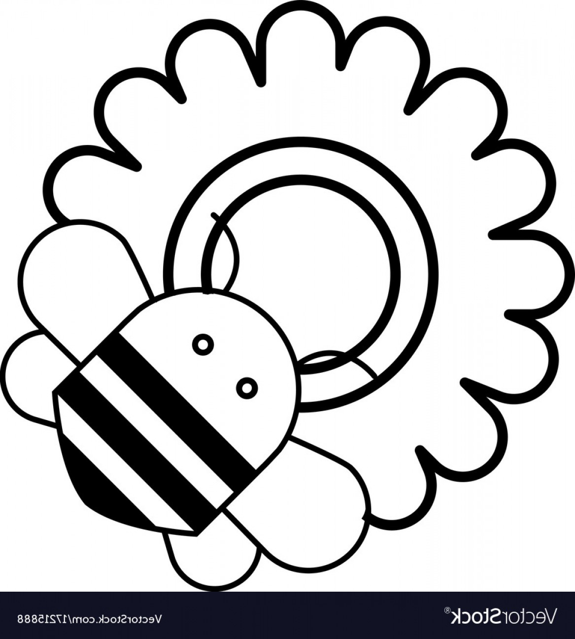 Bee Outline Vector: Bee On Flower Icon Outline Style Vector