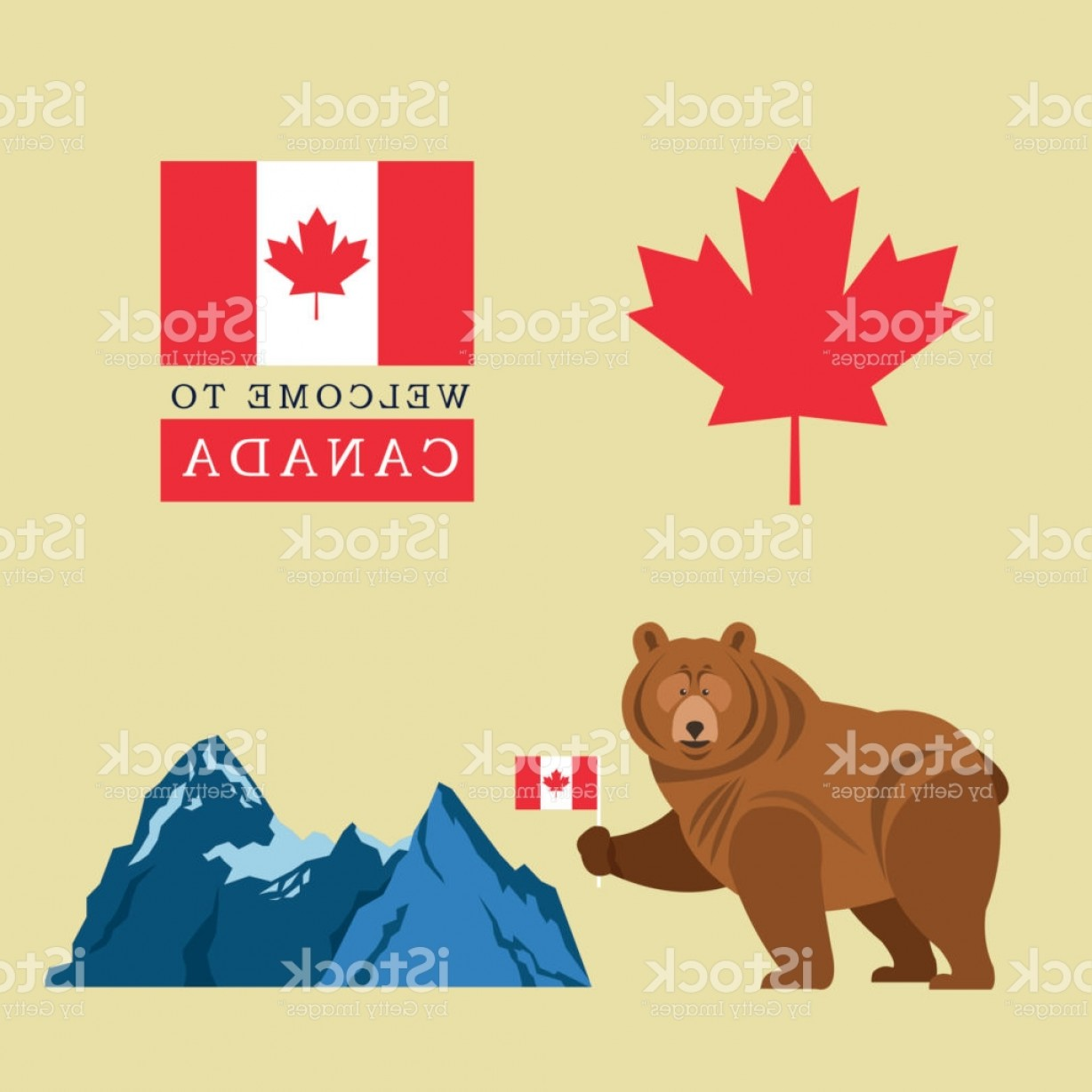 Geographic Leaf Vector: Beer Cartoon With Canada Flag Maple Leaf Icon Mountain Design Gm