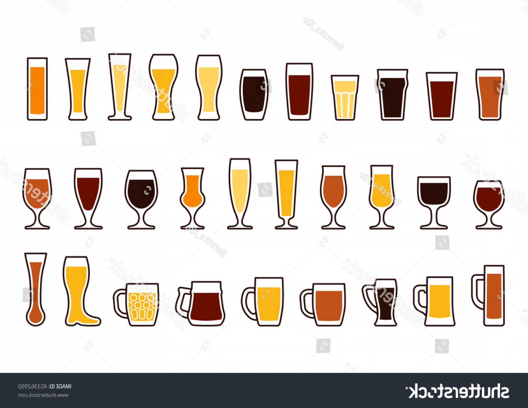 Beer Chalice Vector Logo: Beer Glass Set Icons Mugs Glasses