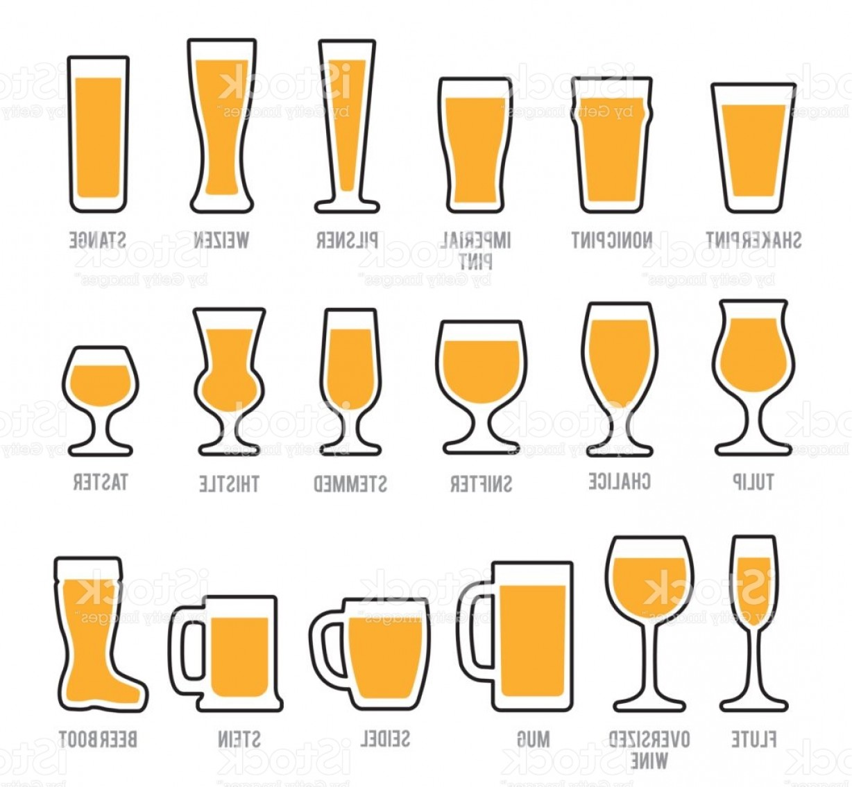 Beer Chalice Vector Logo: Beer Glasses Icon Set Gm