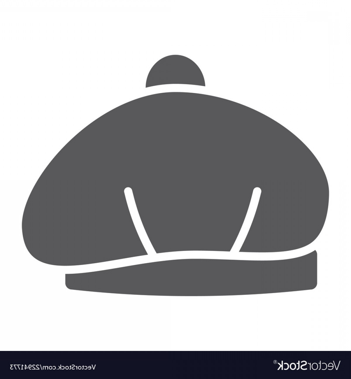 Beret Hat Vector: Beret Glyph Icon Hat And Clothing Cap Sign Vector