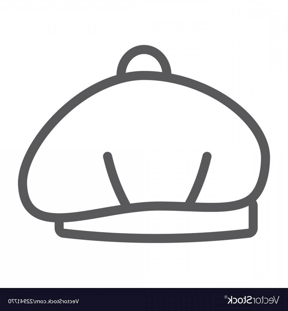 Beret Hat Vector: Beret Line Icon Hat And Clothing Cap Sign Vector