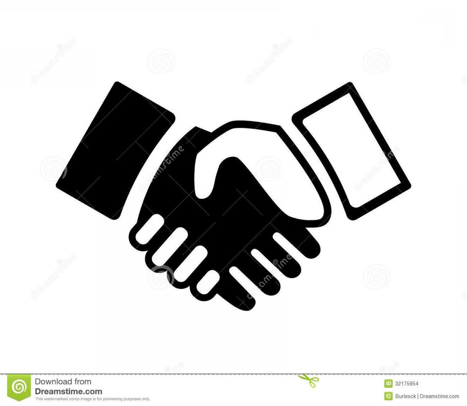 Handshake Vector Art: Best Black And White Handshake Vector Drawing
