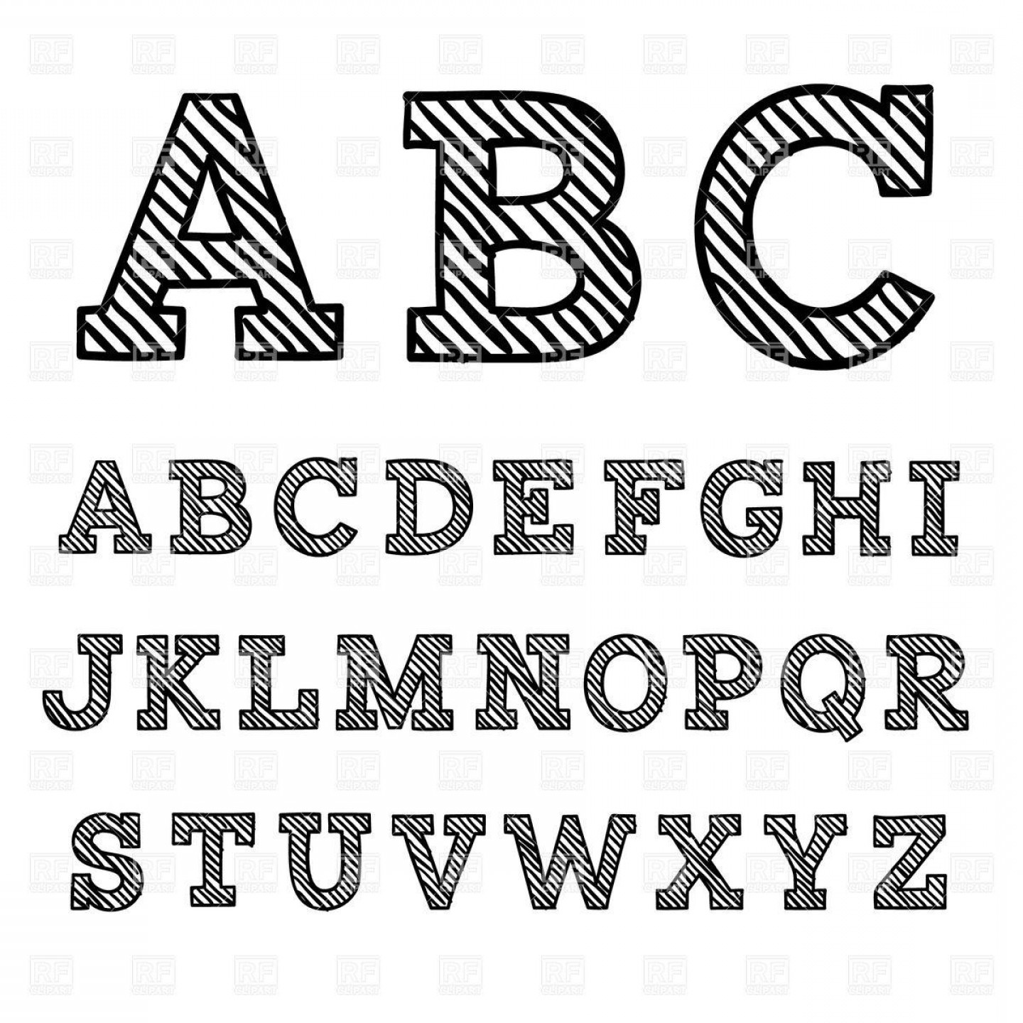 EPS Vector Letters: Best Free Black Font With Shaded Letters Download Royalty Vector File Eps