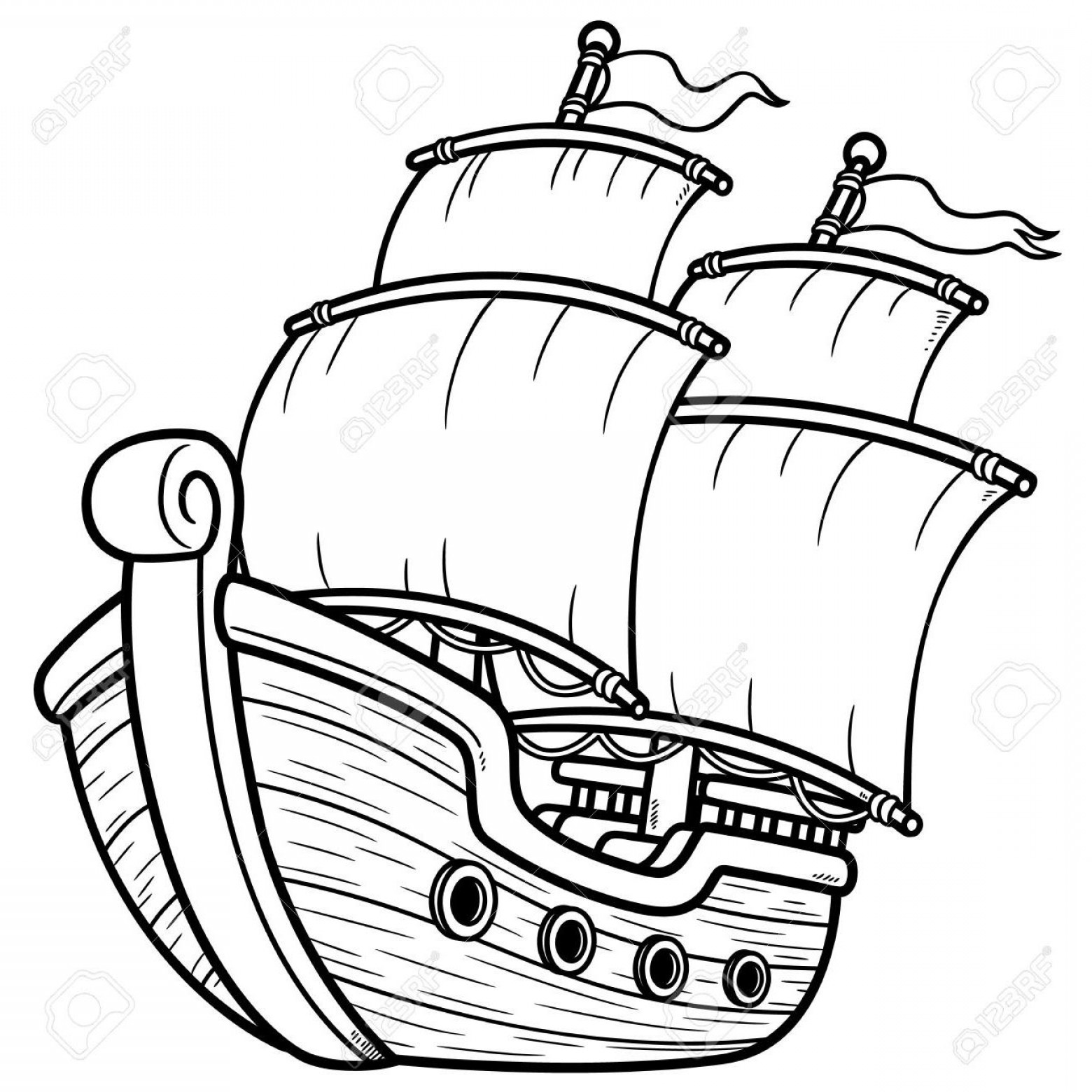 Boat Vector Art Graphics: Best Free Pirate Ship Line Art Vector Cdr