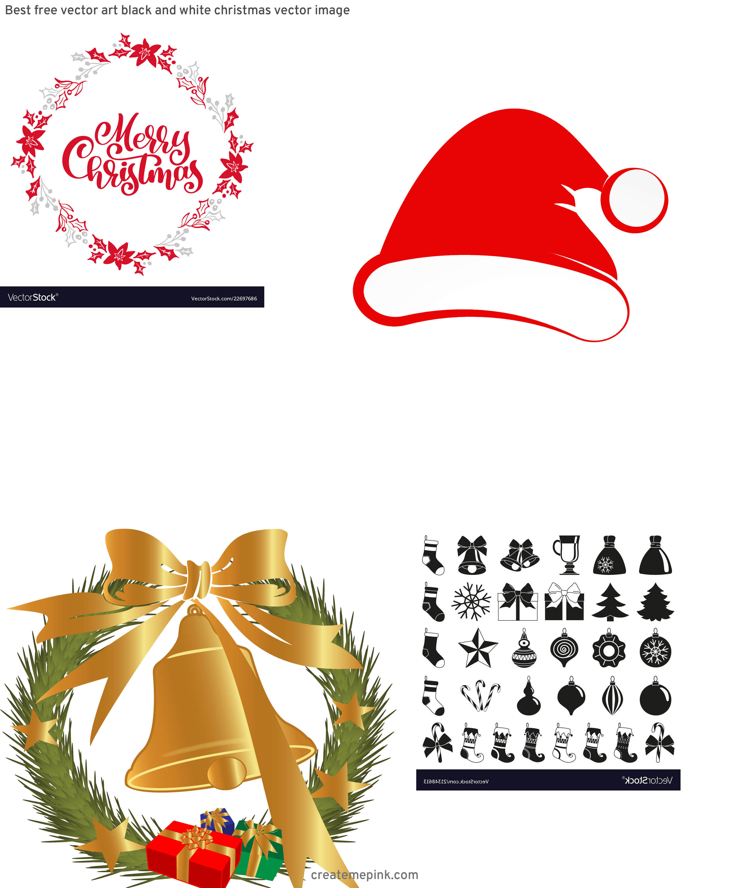Christmas Vector Graphics Art: Best Free Vector Art Black And White Christmas Vector Image