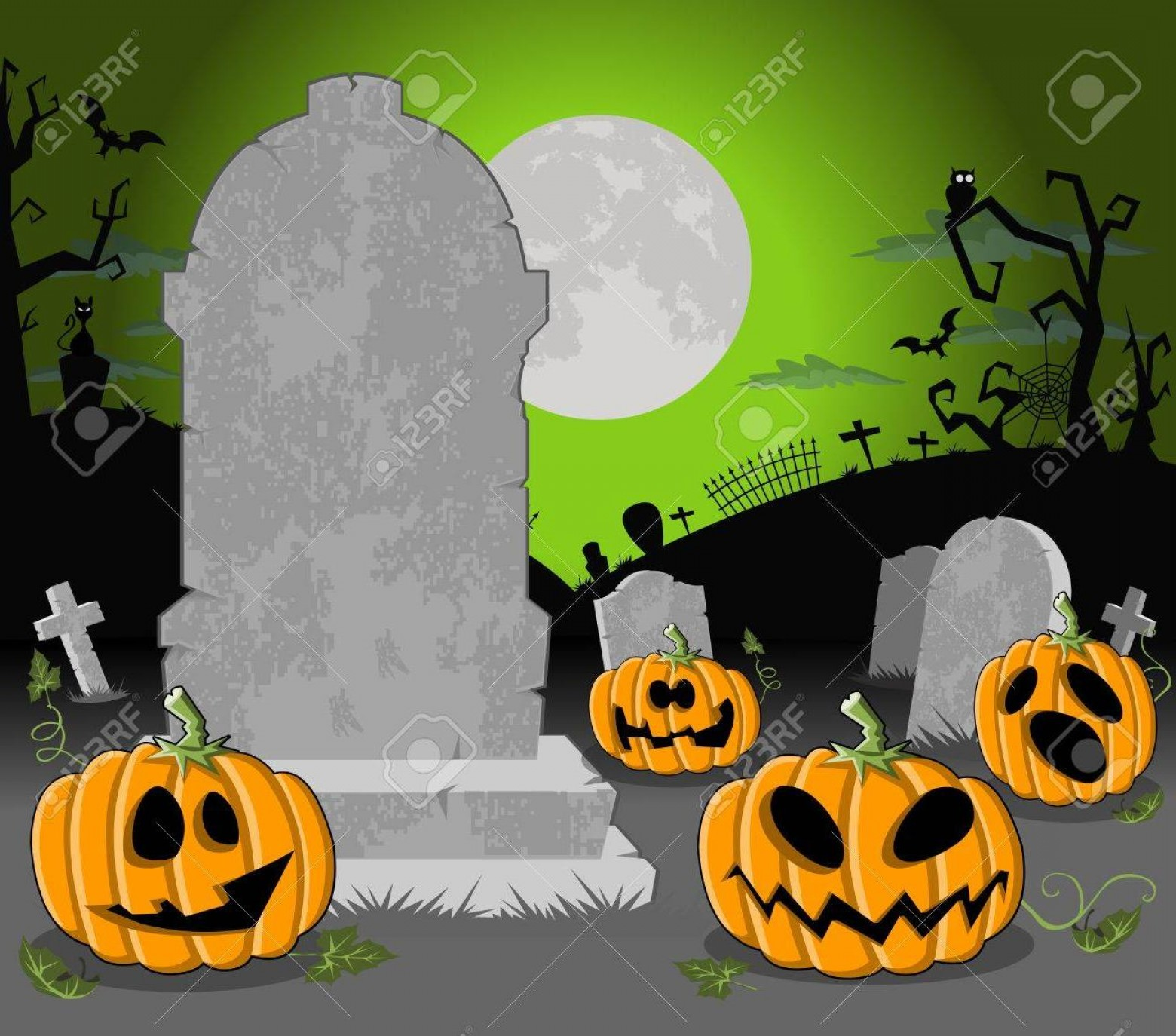 Vector Halloween Silhouettes Pumpkin With Glases Best Halloween Cemetery Background
