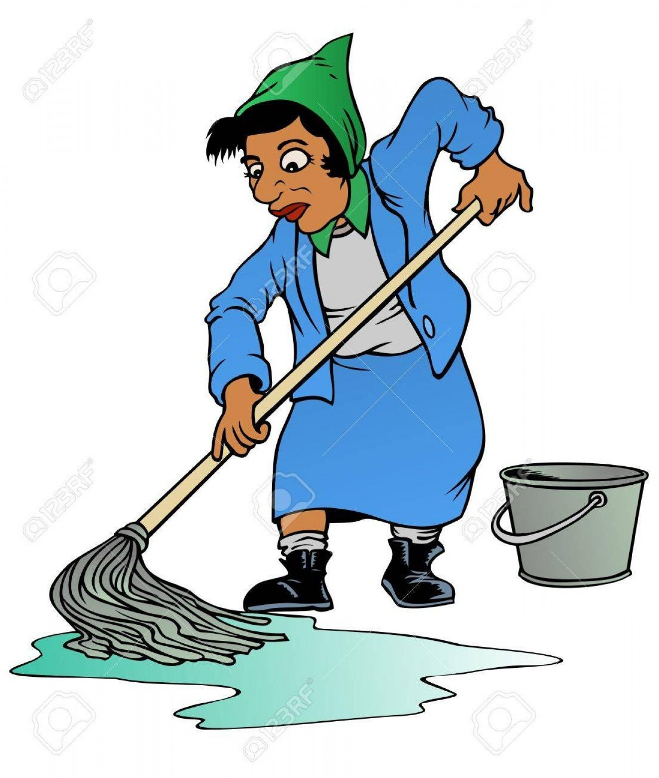 Mop And Bucket Clip Art Vector: Best Hd Tired Woman Using An Old Fashioned Mop And Bucket To Clean Stock Vector Drawing