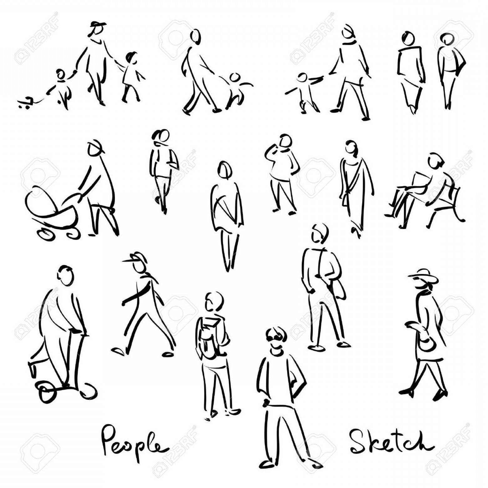 Vector People Free Clip Art: Best Hd Vector People Outline Image