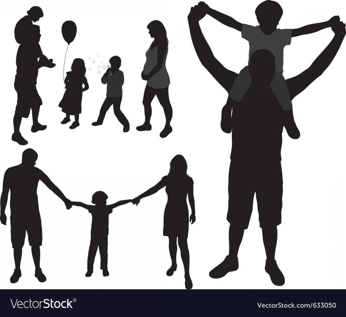 Family Silhouette Vector Art: Best Hd We Are Family Silhouettes Vector Images