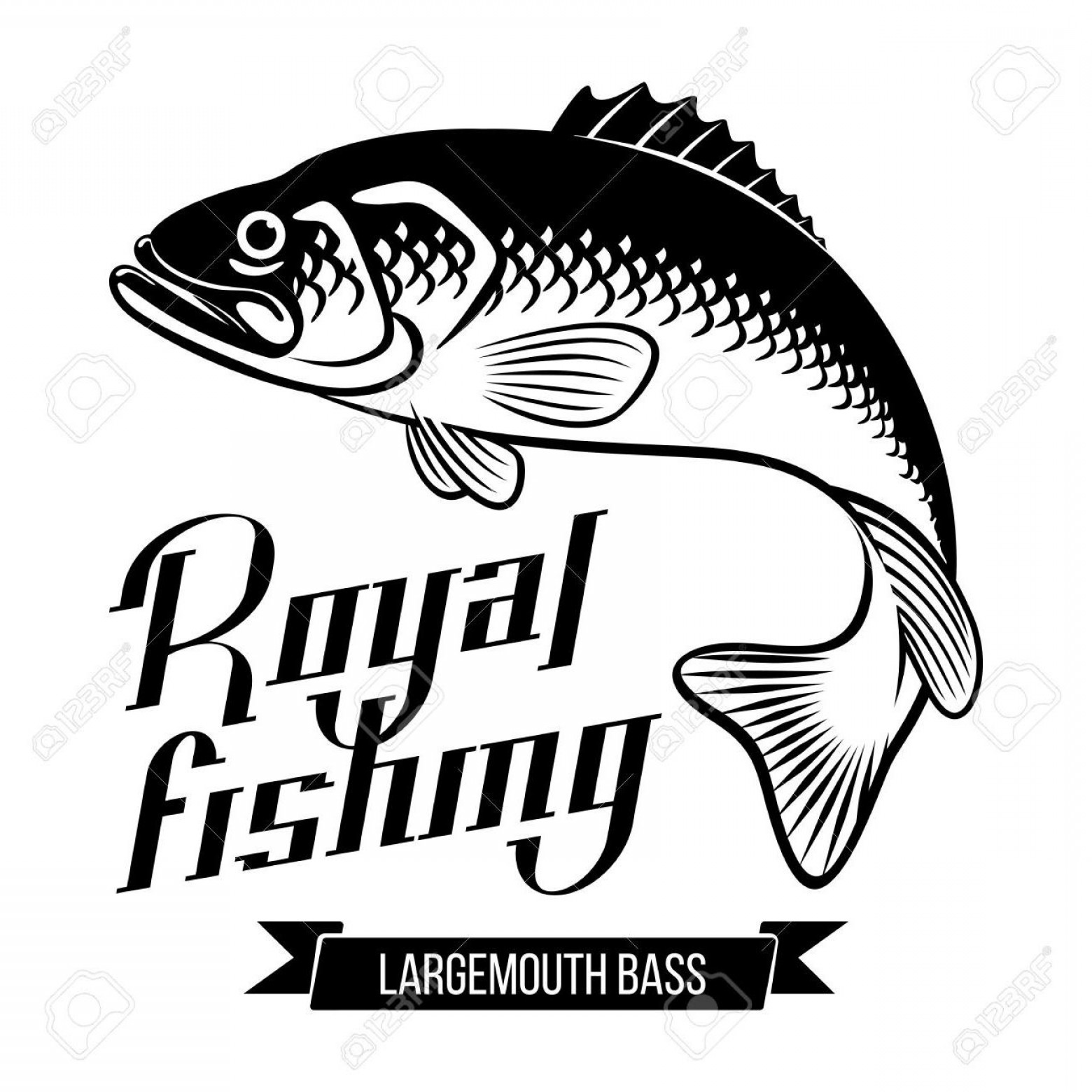 Largemouth Bass Silhouette Vector: Best Largemouth Bass Fish Vector Illustration Royal Fishing Calligraphy File Free