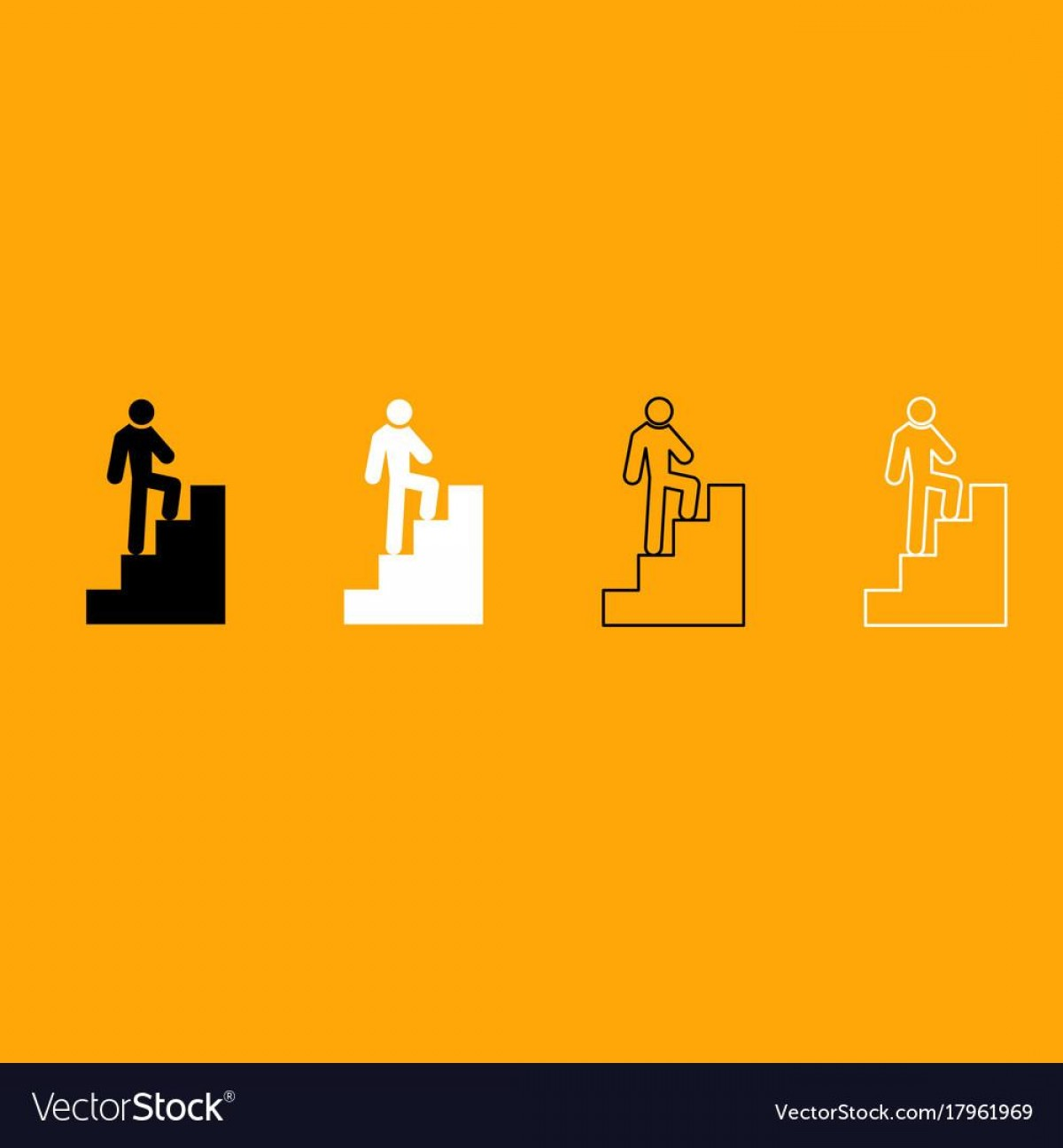 Stair Climb Vector: Best Man Climbing Stairs Black And White Set Icon Vector Design