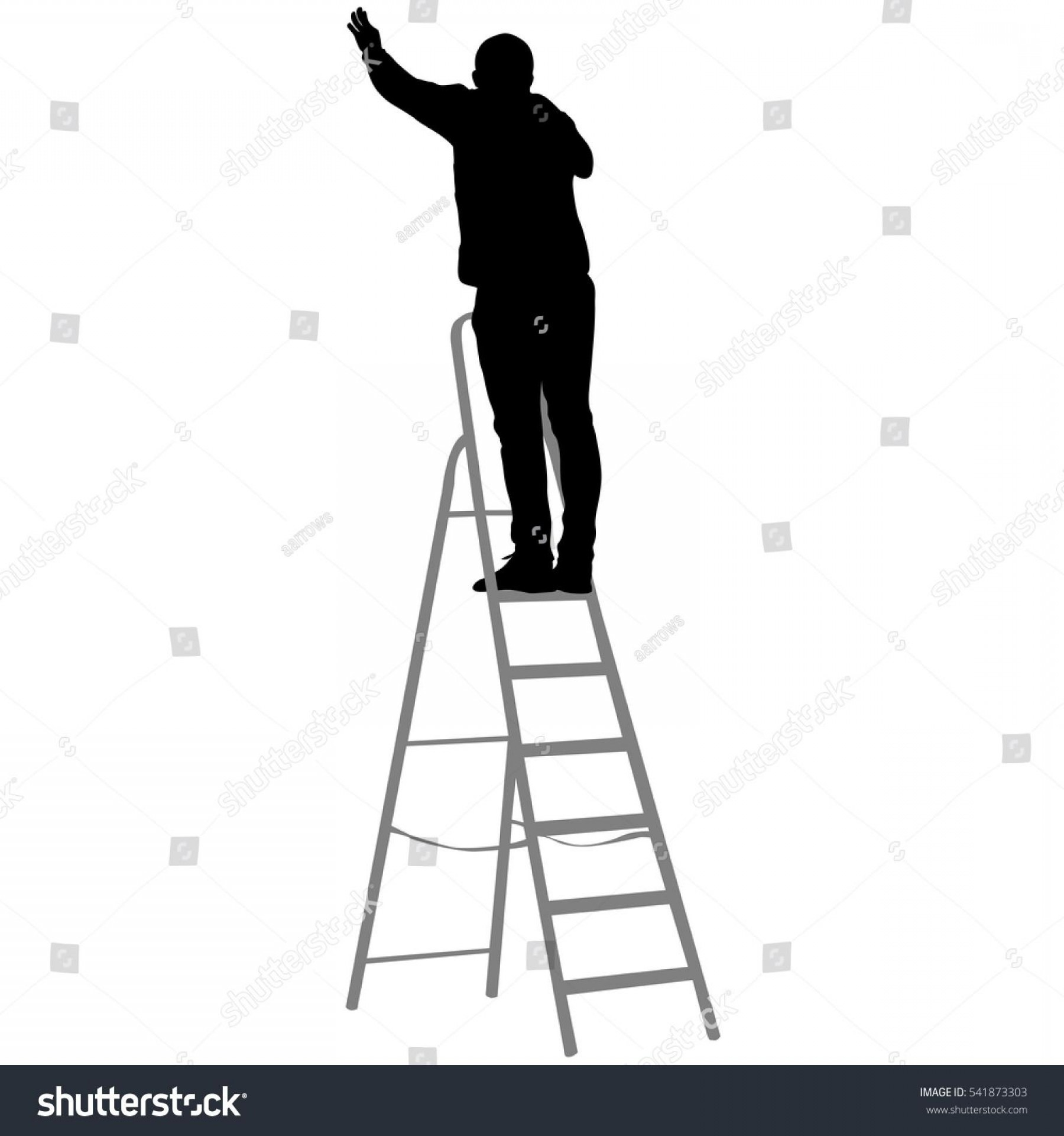 Ladder Silhouette Vector: Best Stock Vector Silhouette Worker Climbing The Ladder Illustration Pictures