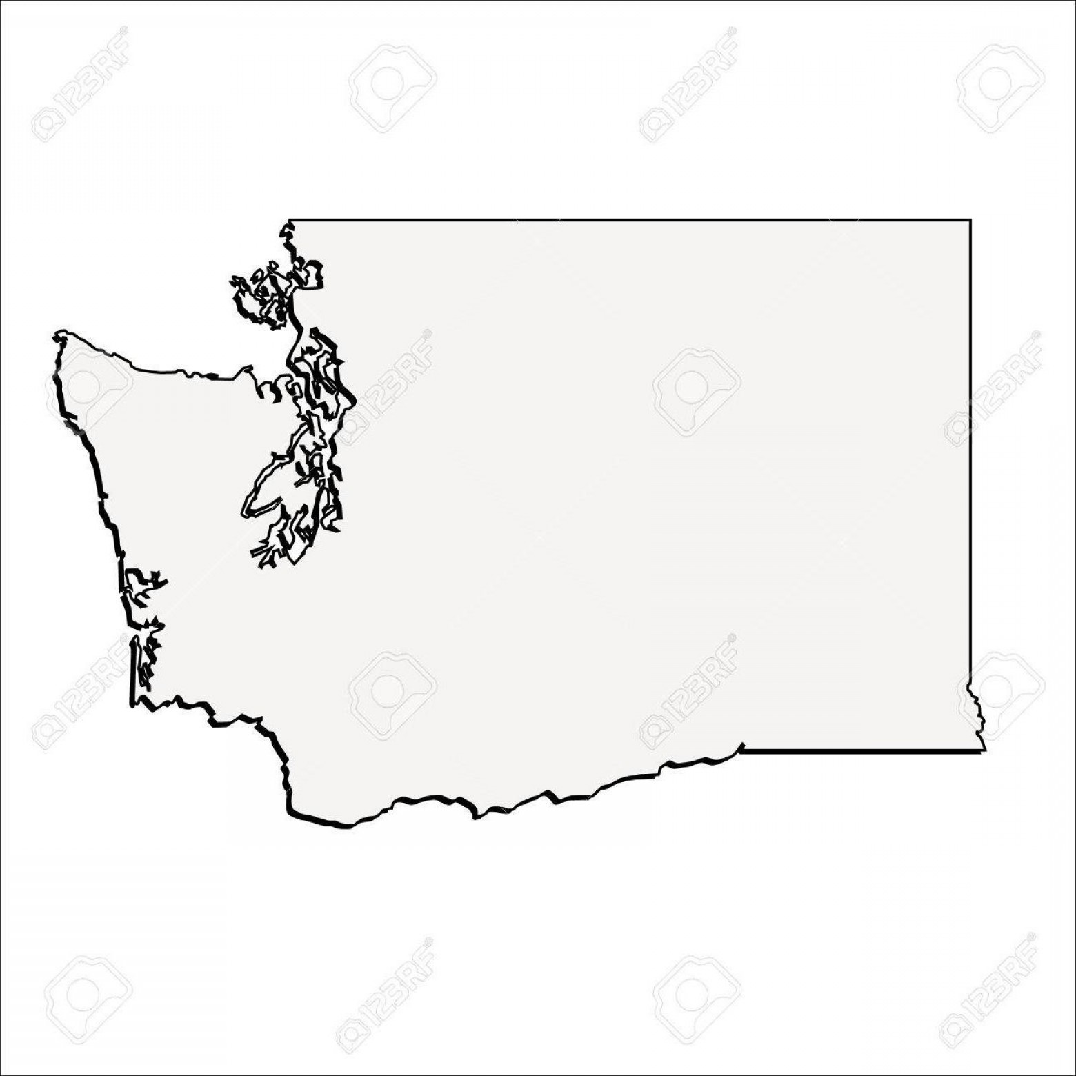 Washington State Map Vector: Best Vector Washington State Outline Map Design