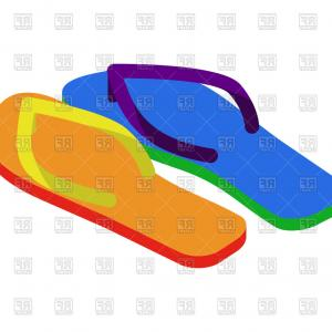 Beach Flip Flops Vectors: Beach Shoes Flip Flops Vector Clipart