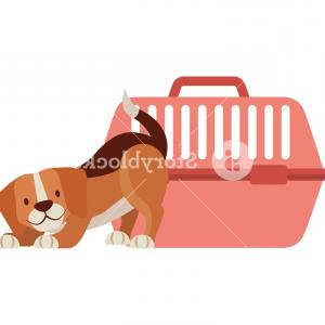 Vector Art Beagle Dog: Beagle Dog And Cage Transport Vector Illustration Rzoyxscqjothozqc