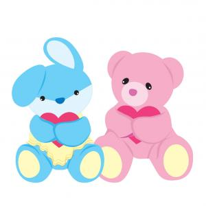 Baby Toy Vector: Bear And Rabbit Baby Toys Vector