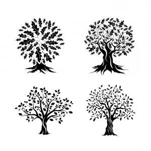 Oak Tree Vector Art Free: Beautiful Oak Trees Silhouette Set Vector