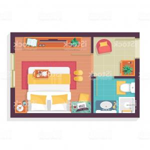Public Floor Plan Vector: Bedroom And Bathroom Floor Plan Top View Furniture Set Gm