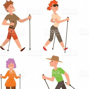 Vector People Free Clip Art: Best Free Nordic Walking Sport Vector People Drawing