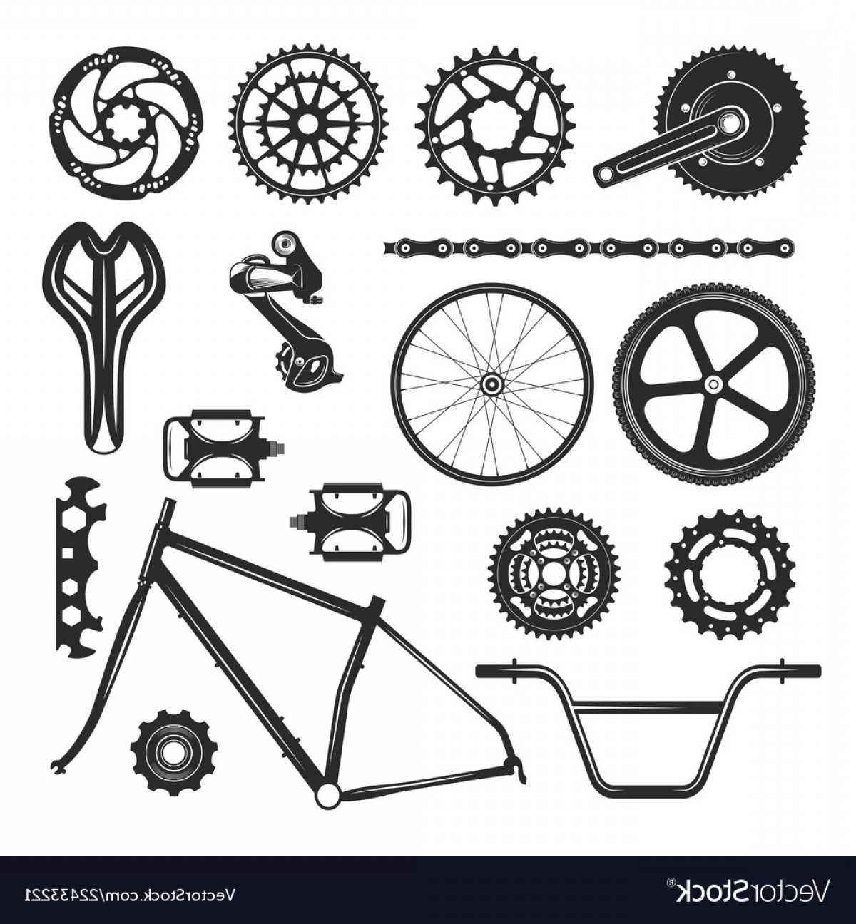 Bicycle Crank Vector Of Artwork: Bicycle Repair Parts Set Vehicle Element Icon Vector