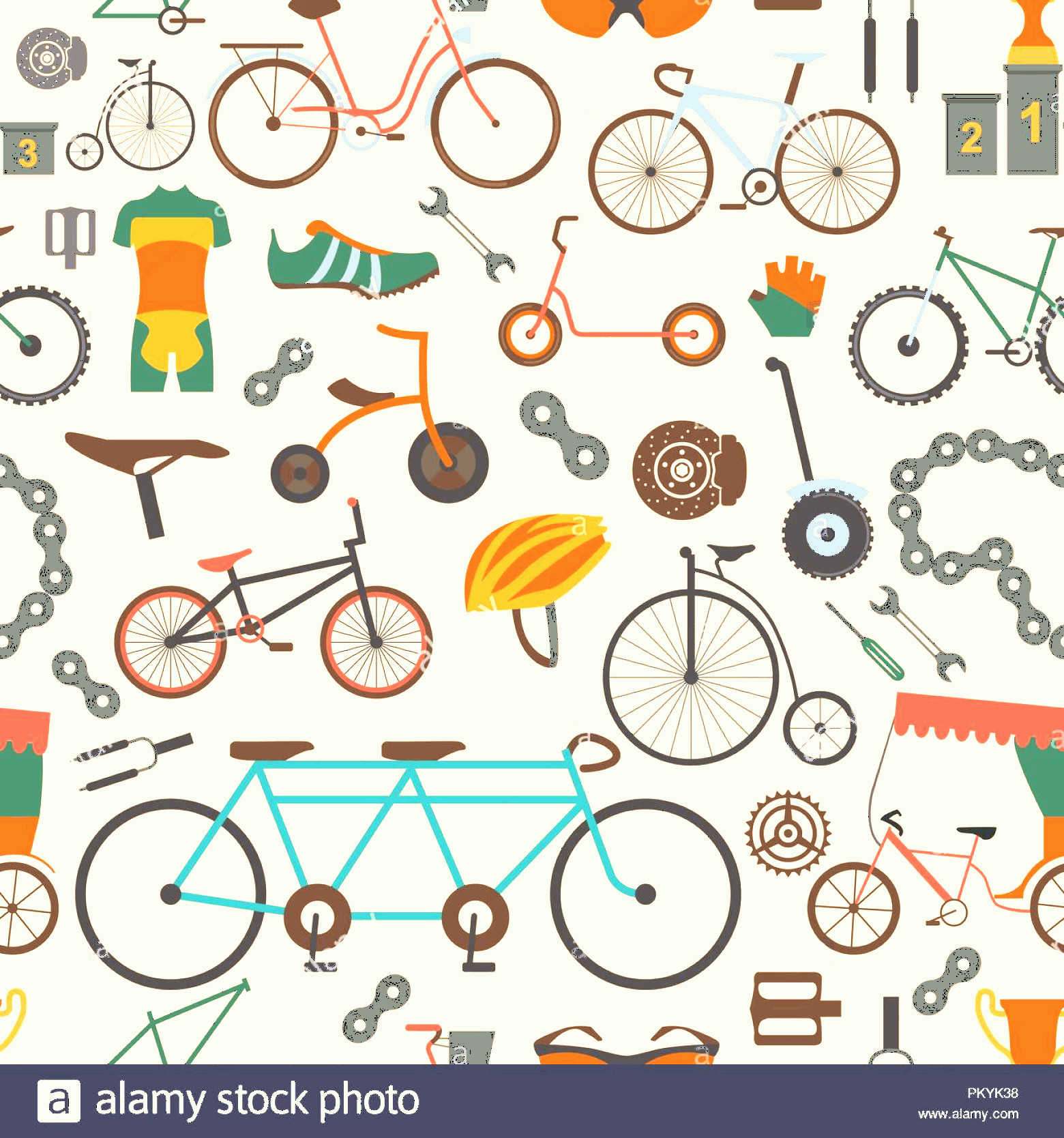 Bicycle Vector Artwork Of Patterns: Bicycle Seamless Pattern Colour Flat Design Vector Illustration Image