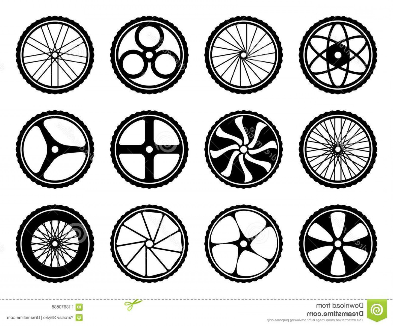 MB Wheels Vector Chrome: Bicycle Wheels Set Tires Spokes Bike Icons Component Bicycle Wheels Set Tires Spokes Bike Icons Component Vector Image