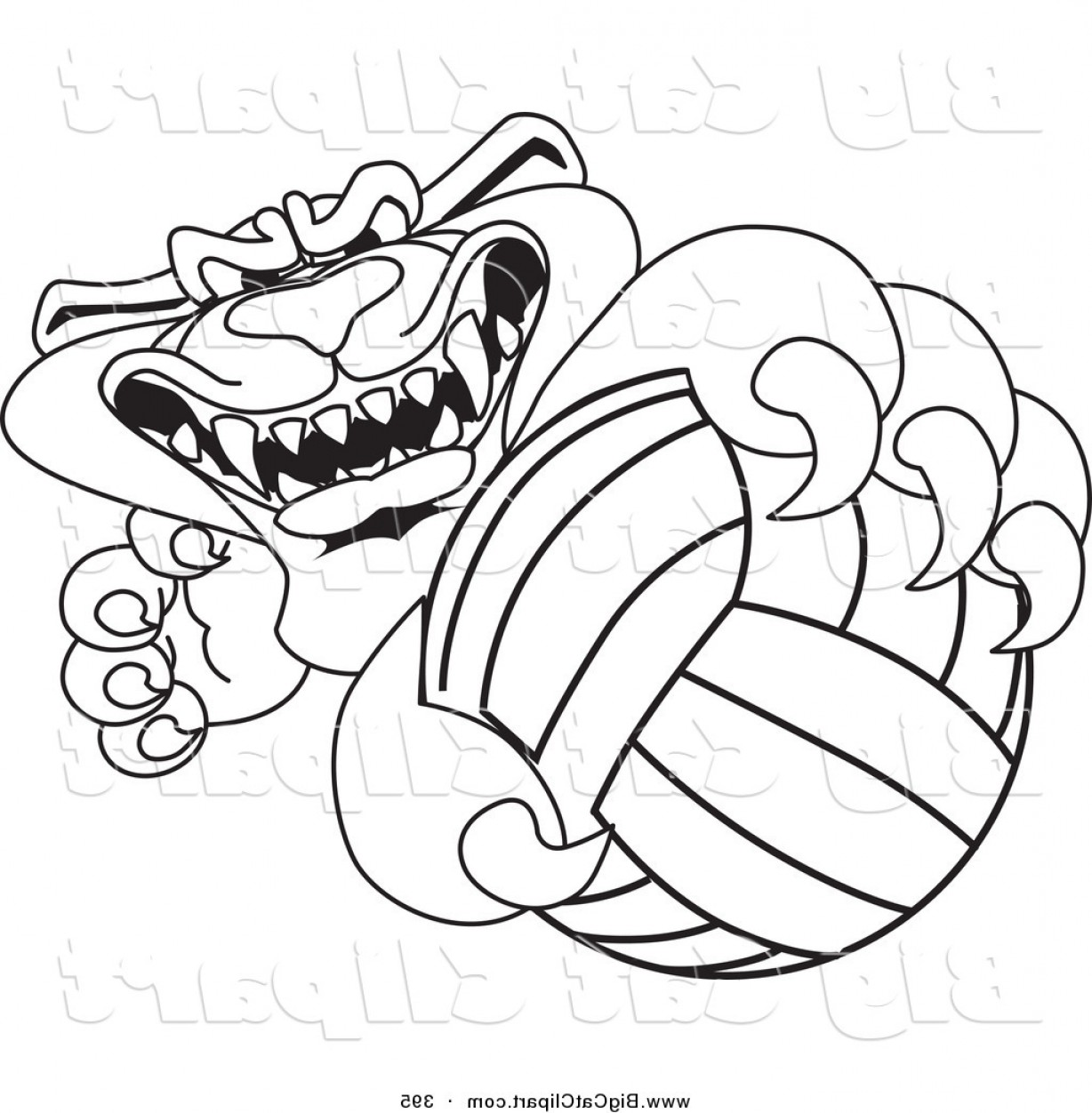 Vector Panther Football: Big Cat Cartoon Vector Clipart Of A Black Outline Of A Panther Character Mascot Grabbing A Volleyball By Toonsbiz