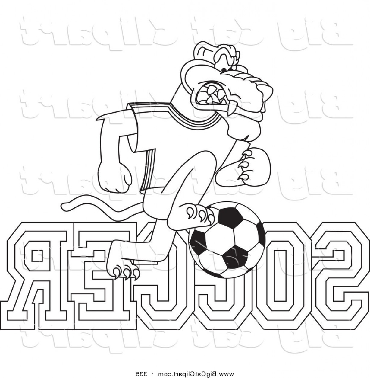 Panther Mascot Vector Sports: Big Cat Cartoon Vector Clipart Of A Coloring Page Outline Design Of A Panther Character Mascot With Soccer Text By Toonsbiz