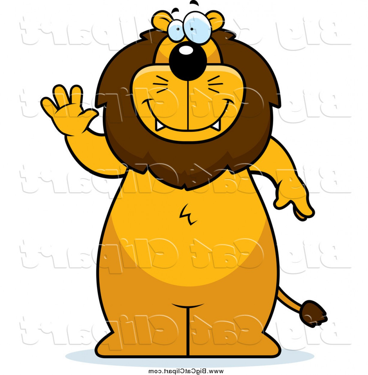 Standing Lions Crest Vector: Big Cat Cartoon Vector Clipart Of A Lion Standing And Waving By Cory Thoman