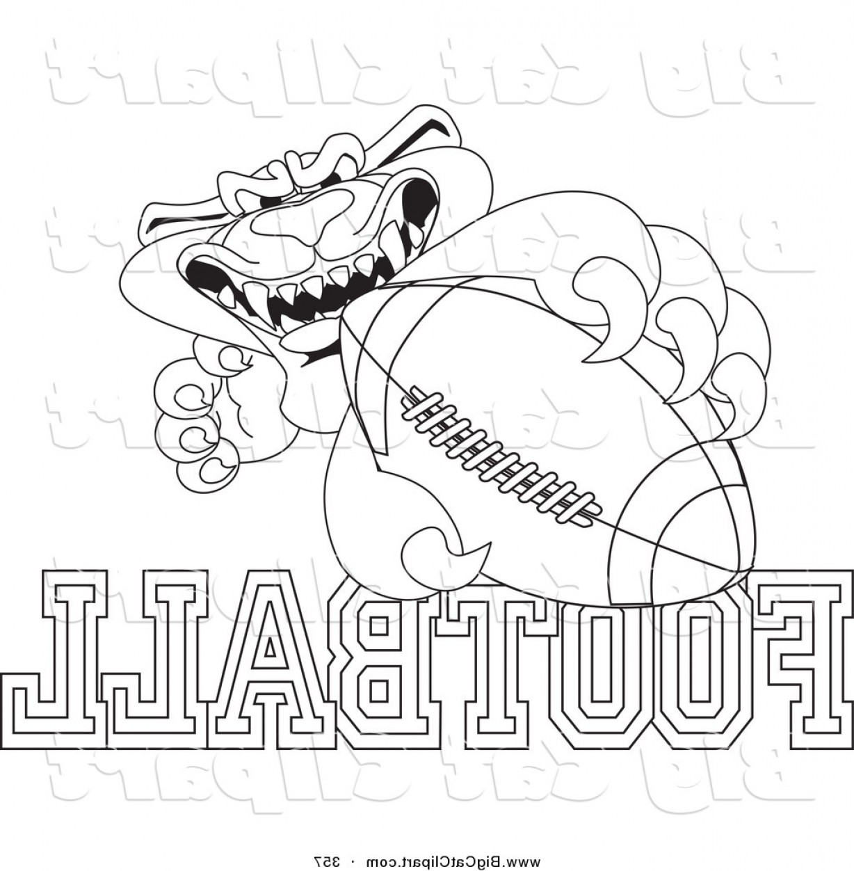 Vector Panther Football: Big Cat Cartoon Vector Clipart Of An Outline Design Of A Panther Character Mascot With Football Text By Toonsbiz