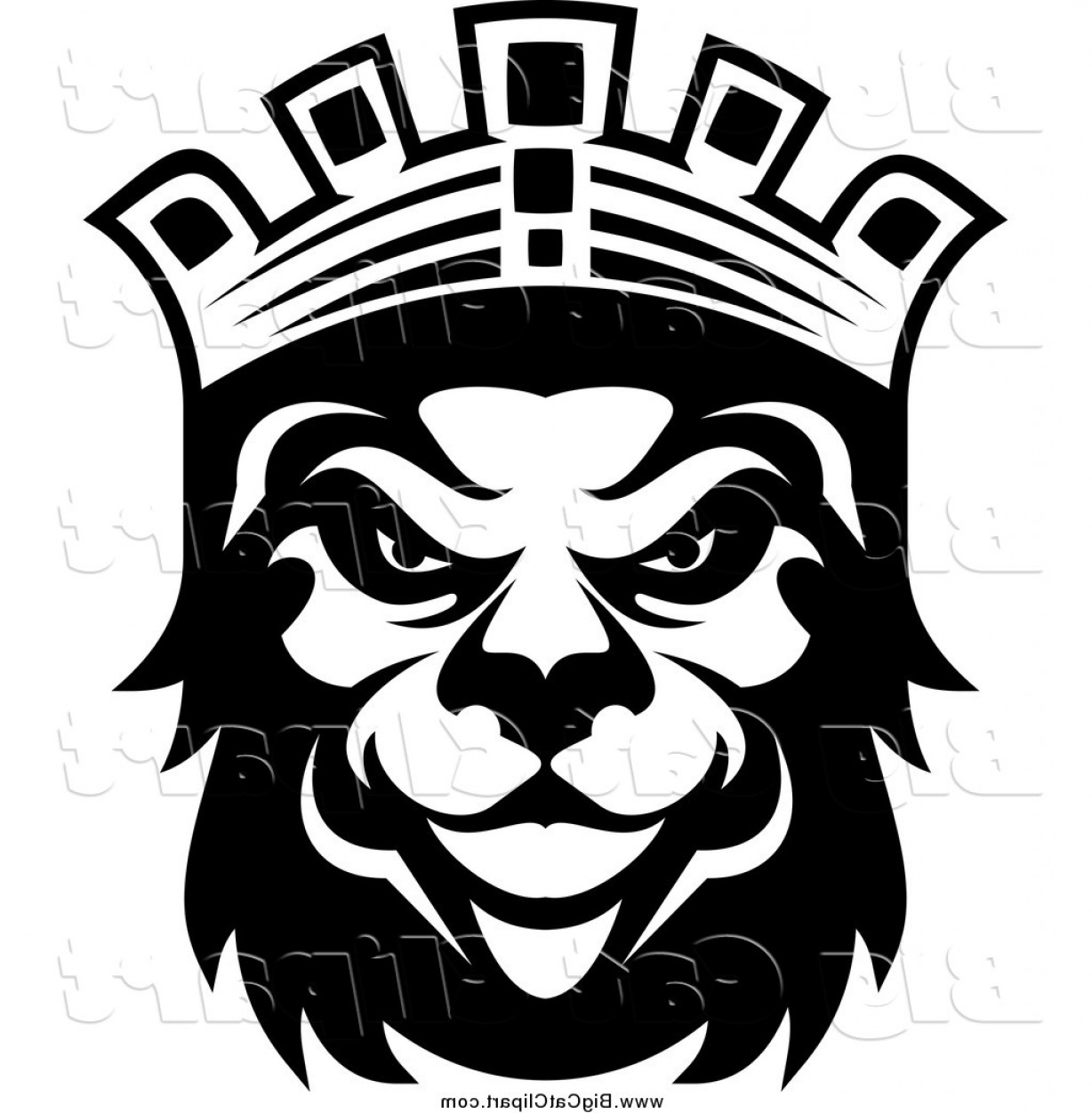 Crown Vector Clip Art: Big Cat Vector Clipart Of A Black And King Lion With A Crown By Vector Tradition Sm