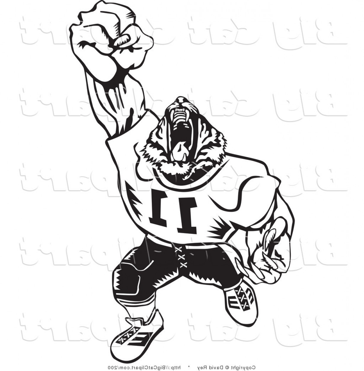 Vector Panther Football: Big Cat Vector Clipart Of A Black And White Tiger Football Player Roaring On White By David Rey