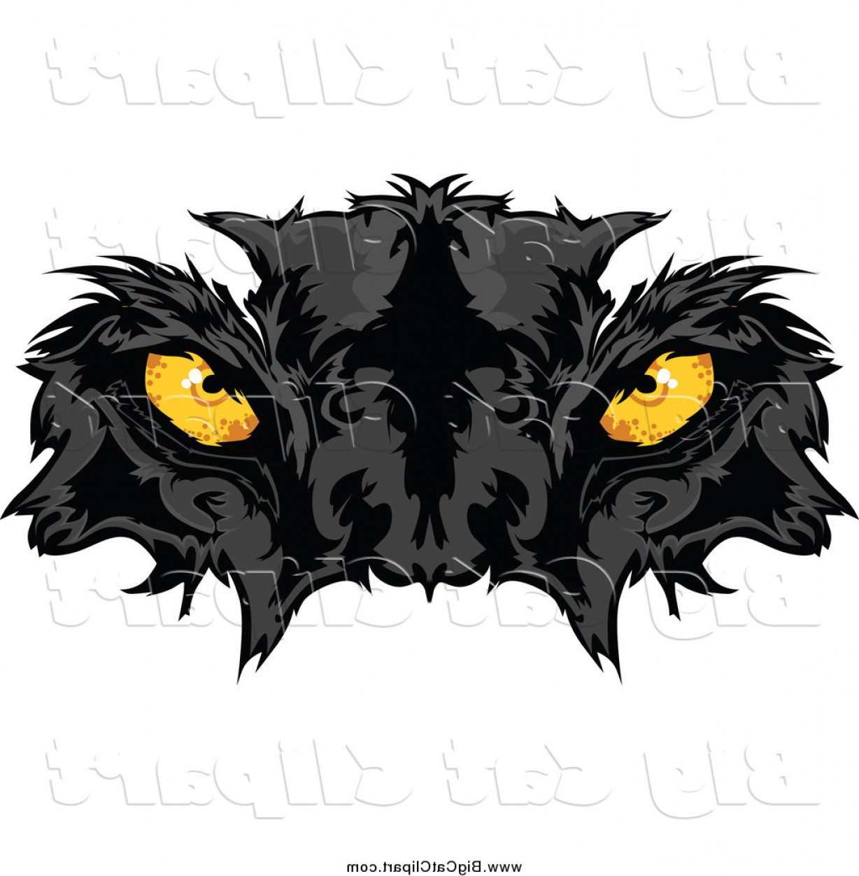 Eyeballs Clipart- Vector: Big Cat Vector Clipart Of A Black Panther Face With Yellow Eyes By Chromaco