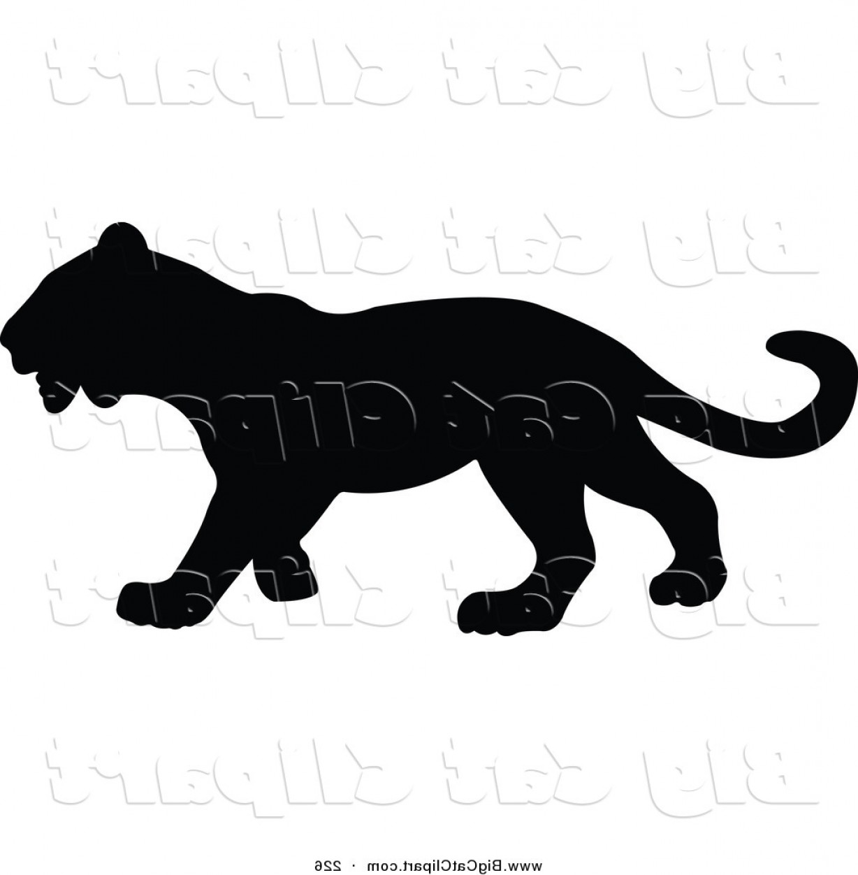 Panther Vector: Big Cat Vector Clipart Of A Profiled Black Panther Silhouetted And Facing Right By Jr