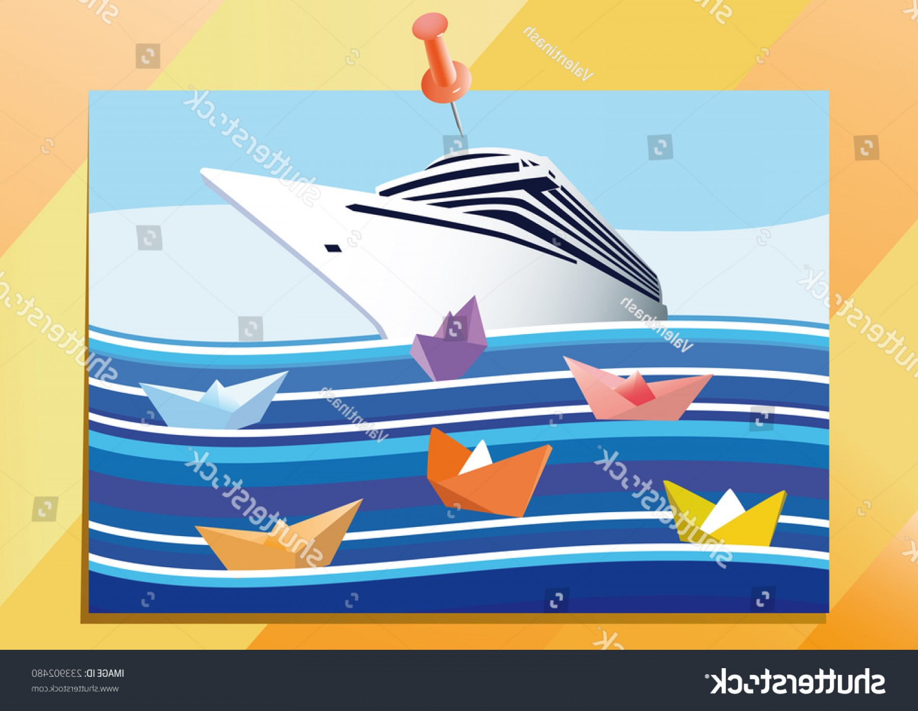 Waves With Cruise Ship Silhouette Vector: Big Cruise Liner Paper Boats On