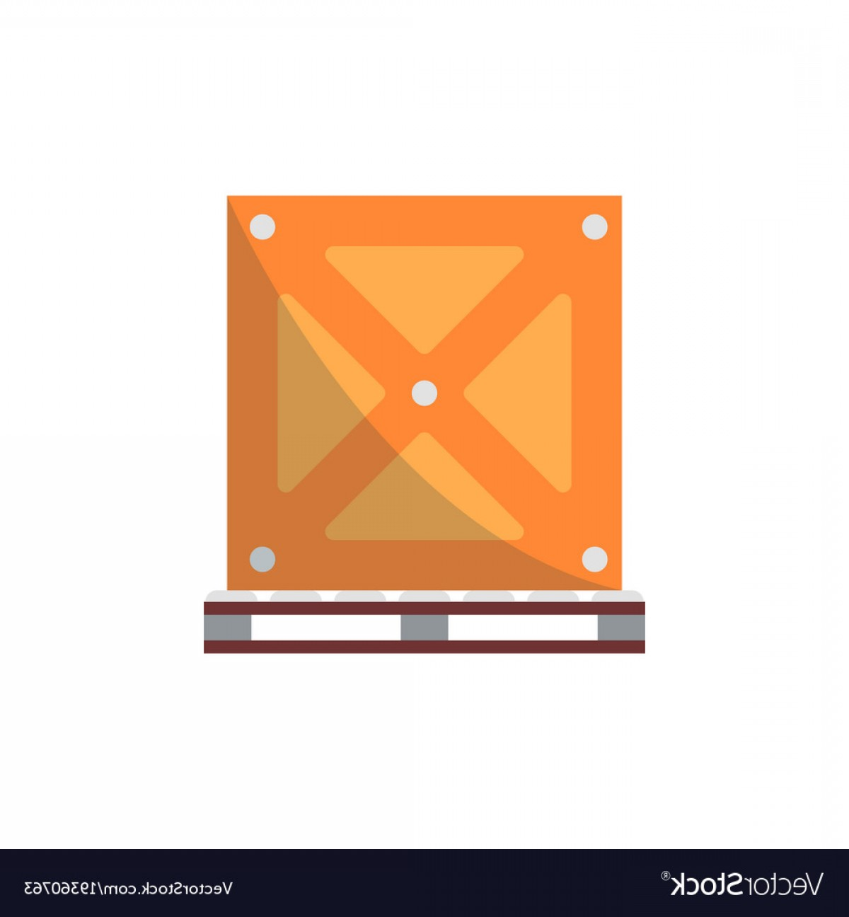 Vector Black Pallet: Big Delivery Box On Pallet Icon Vector