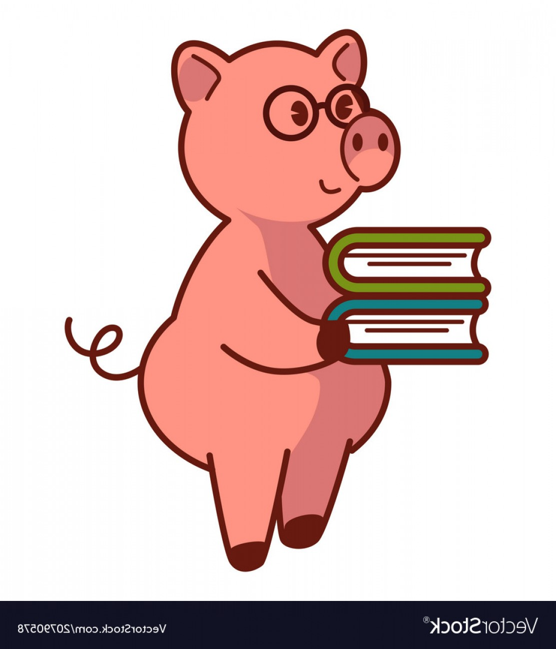 Smarter Vector Art: Big Pink Pig In Glasses Holds Pile Of Books Vector