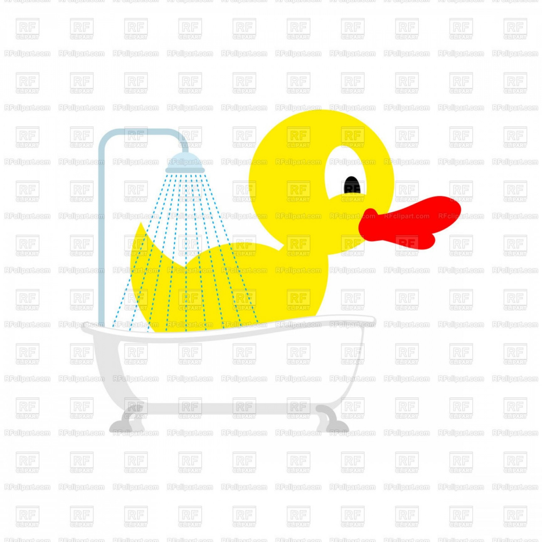 Shot Duck Outline Vector: Big Rubber Duck In Bath Vector Clipart