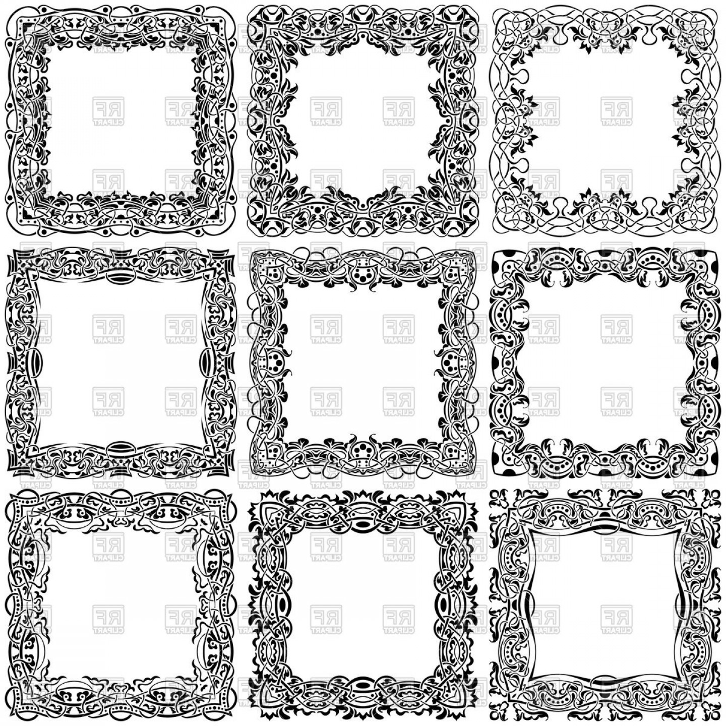 Square Black Vector Border Frame: Big Set Of Square Vintage Ornamental Frames Vector Clipart