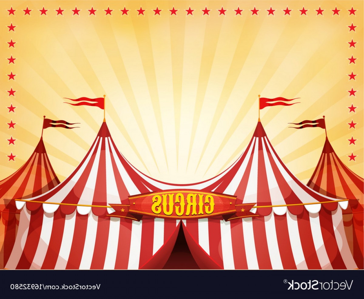 Circus Background Vector: Big Top Circus Background With Banner Vector