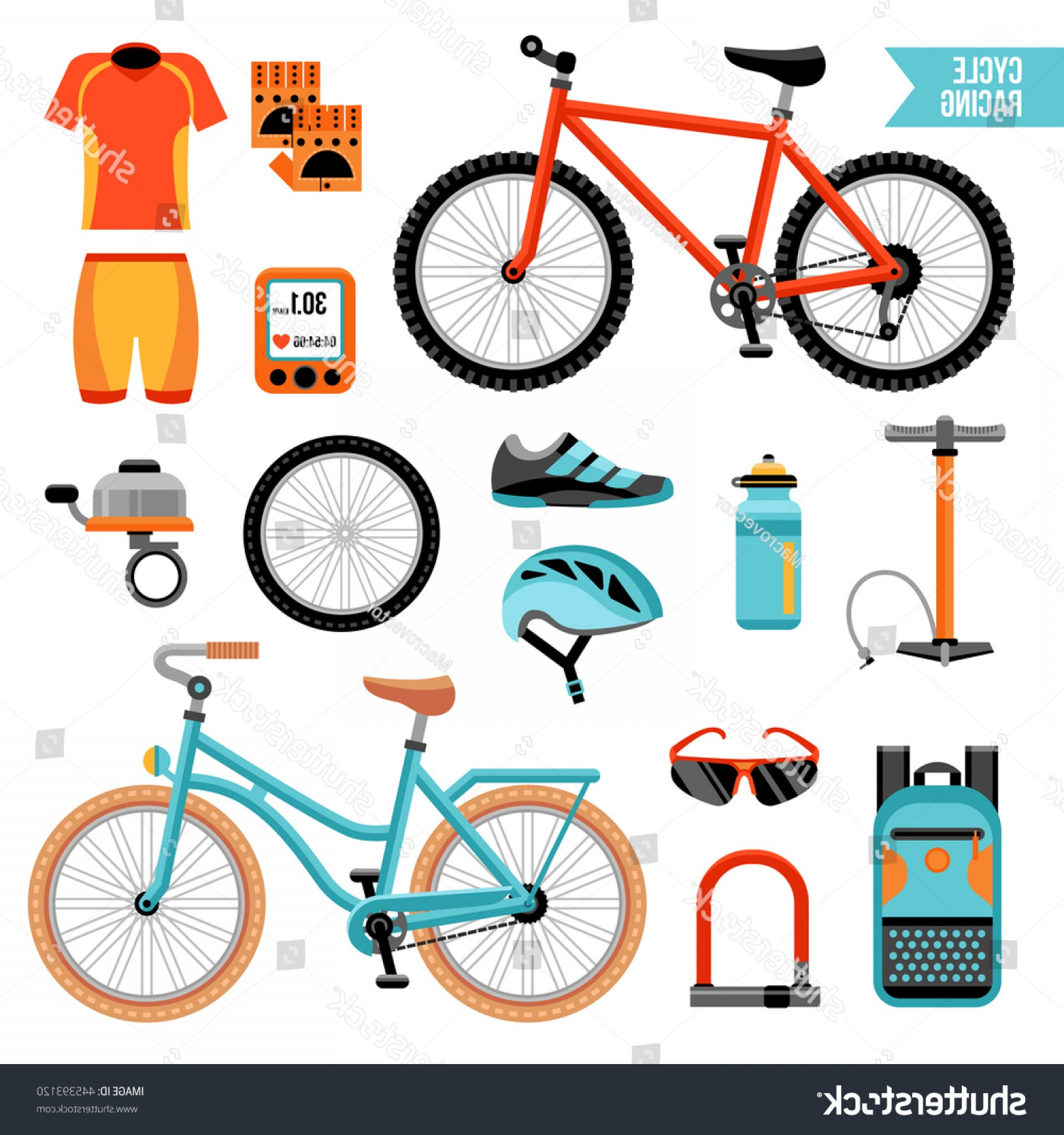 Indoor Cycling Bike Vector: Bike Cycling Accessories Colored Icons Set