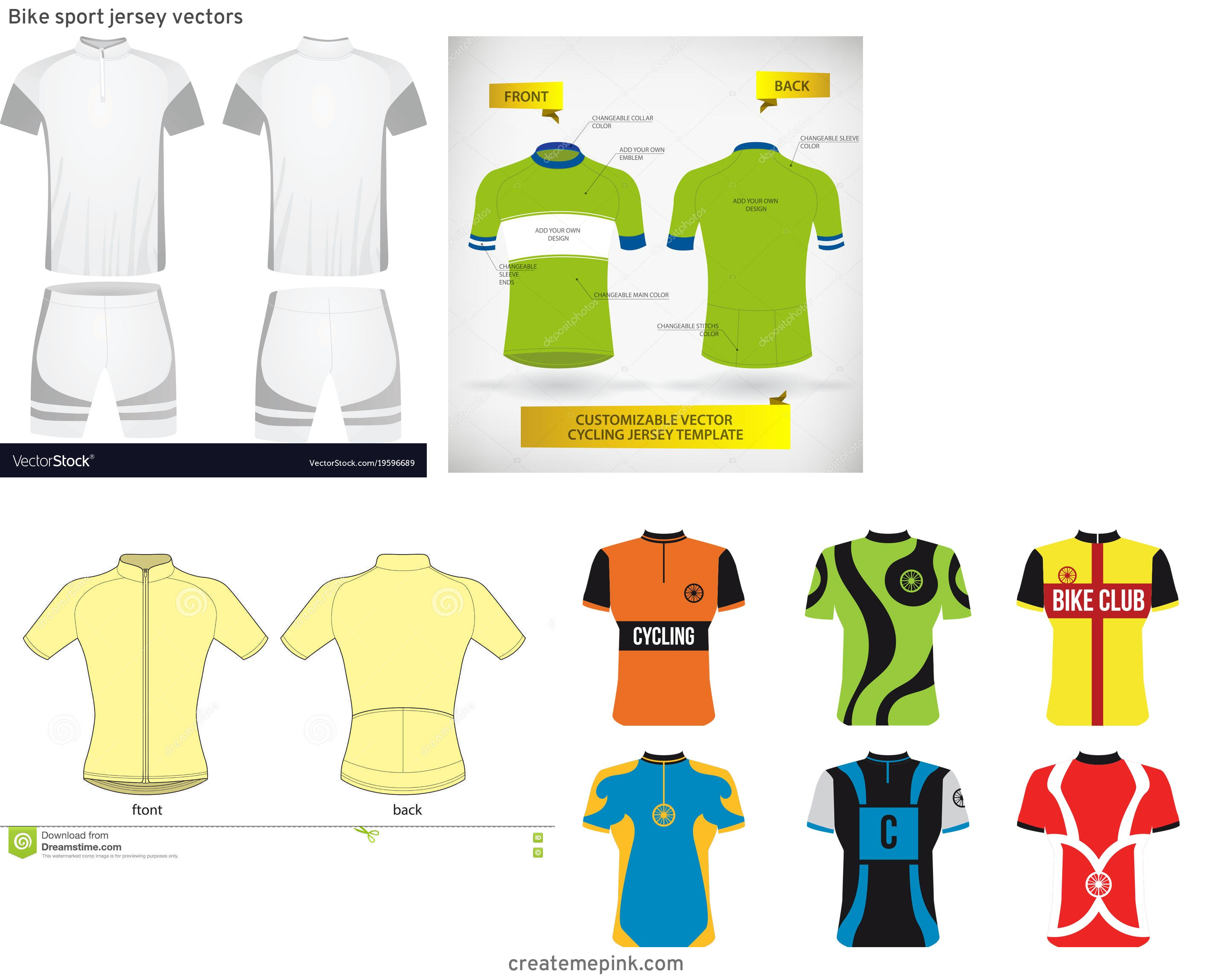 Cycling Kit Template Vector: Bike Sport Jersey Vectors