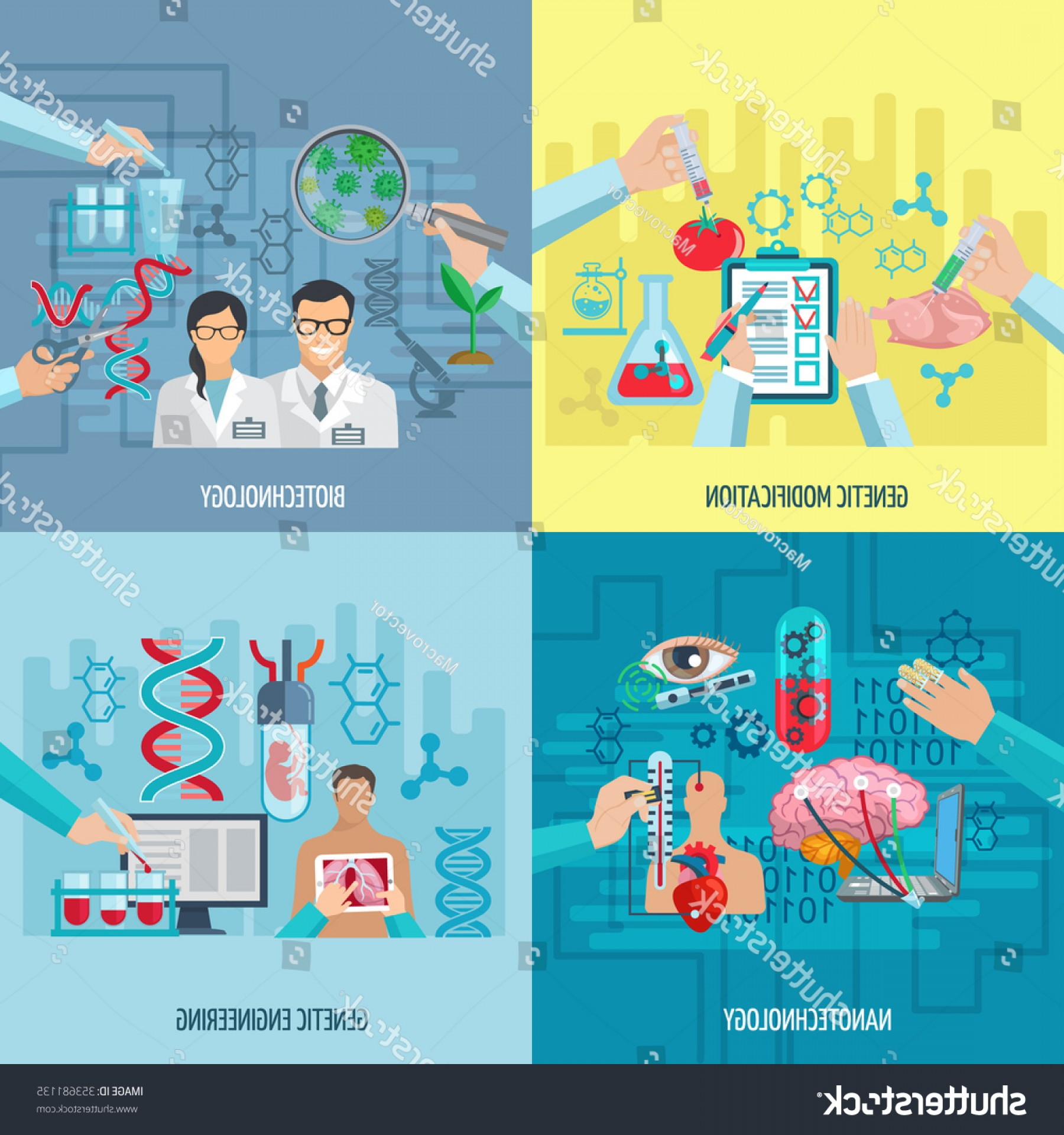 Genetic Engineering Animals Vector: Biotechnology Icons Concept Composition Genetic Engineering
