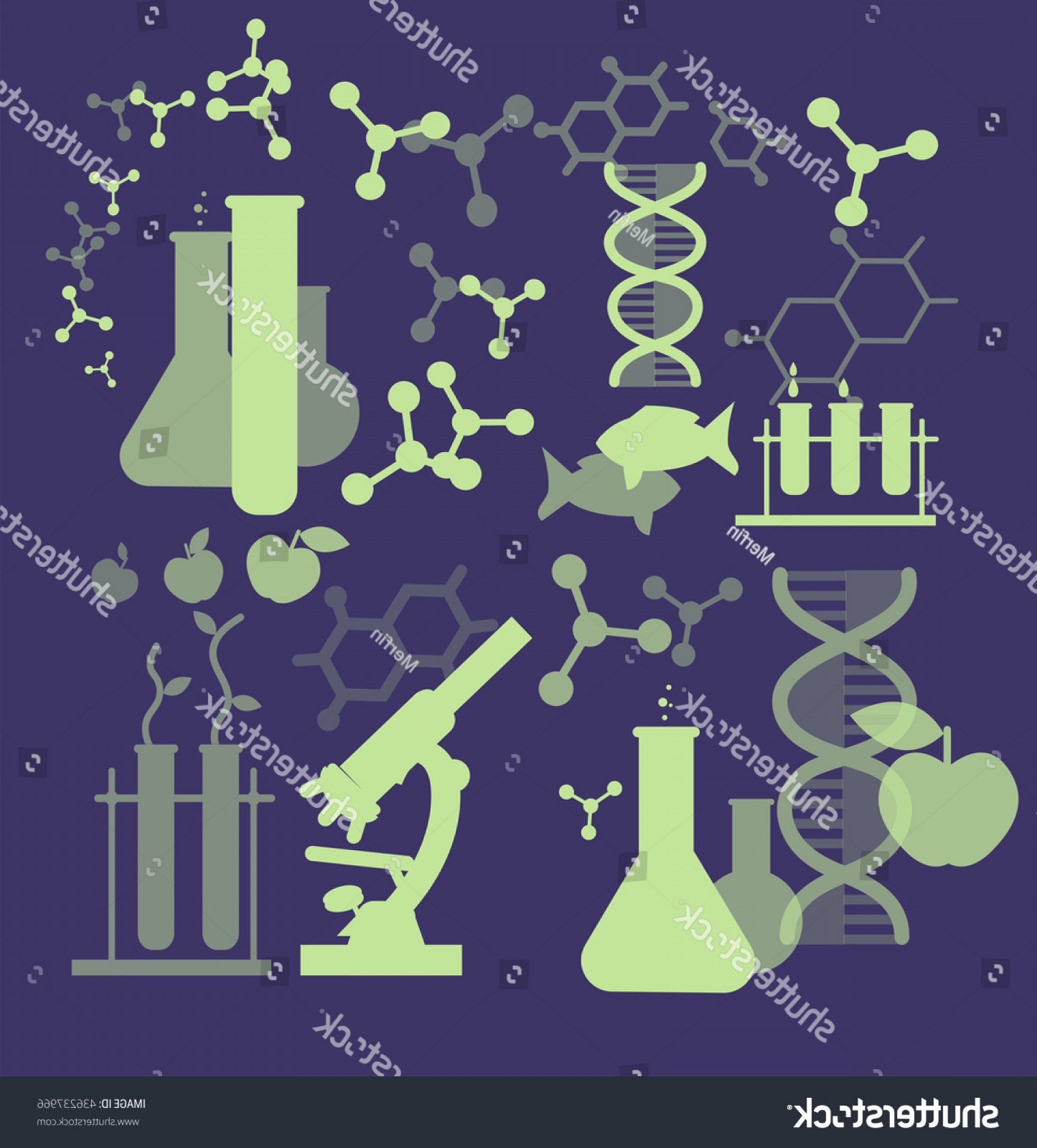 Genetic Engineering Animals Vector: Biotechnology Science Icons Concept Composition Genetic