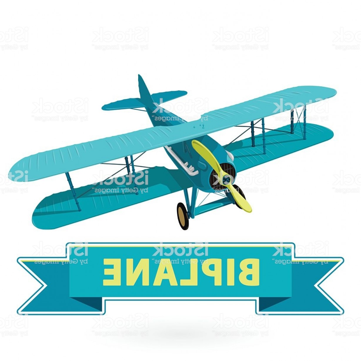 Old School Airplane Fighter Silhouette Vector: Biplane From World War With Blue Coating Model Aircraft Propeller Gm