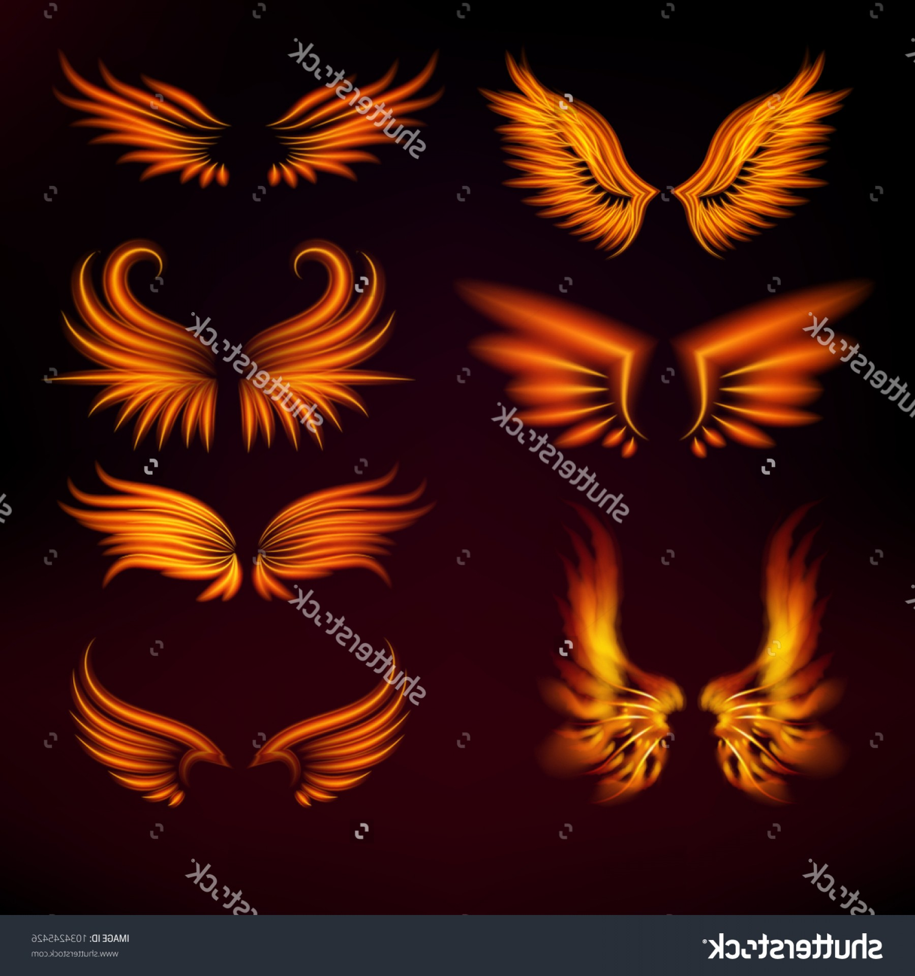 Torn Angel Wings Vector: Bird Fire Wings Vector Fantasy Feather